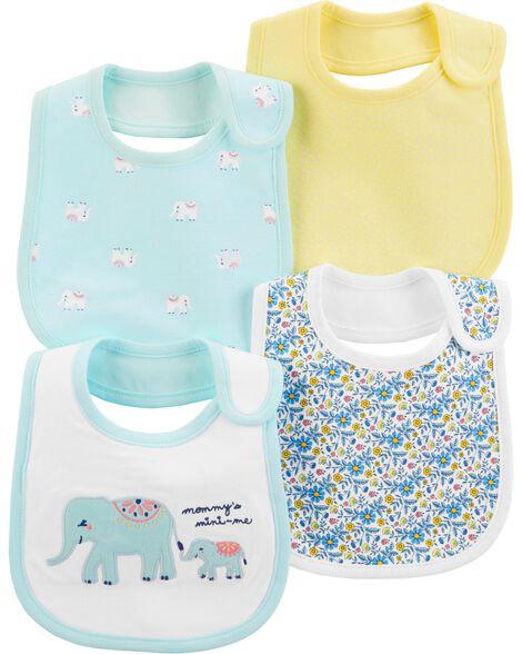Emballage de 4 bavoirs de dentition à éléphants