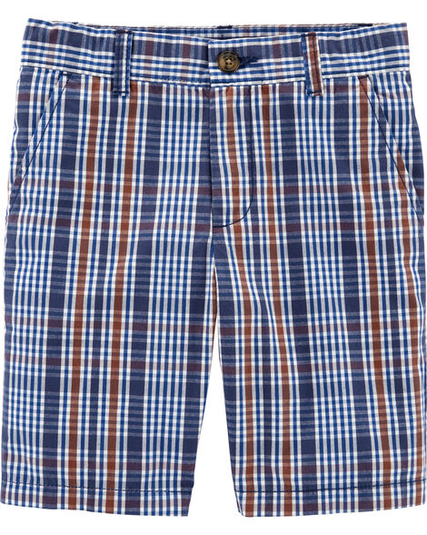 Plaid Poplin Shorts