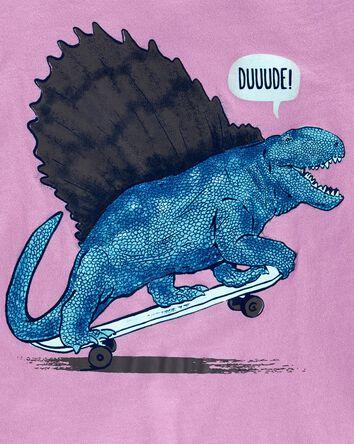 T-shirt en jersey à dinosaure planc...