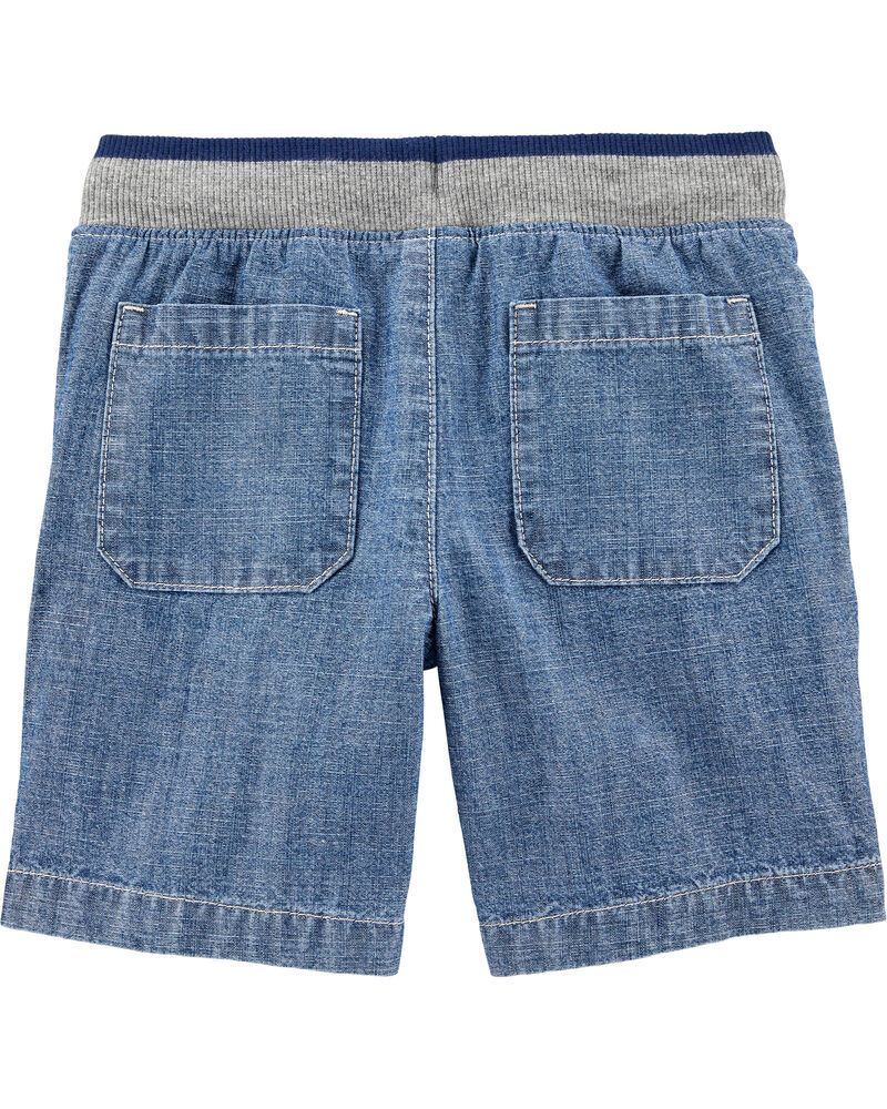 Easy Pull-On Chambray Dock Shorts, , hi-res
