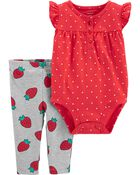 2-Piece Strawberry Bodysuit Pant Set, , hi-res
