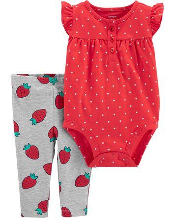 2-Piece Strawberry Bodysuit Pant Se...