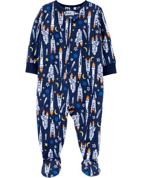 1-Piece Rocket Fleece PJs