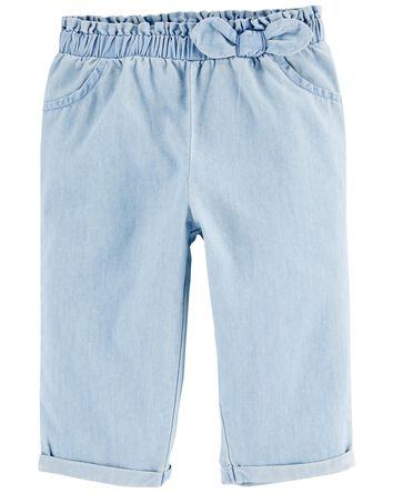 2-Piece Floral Tee & Chambray Pant...