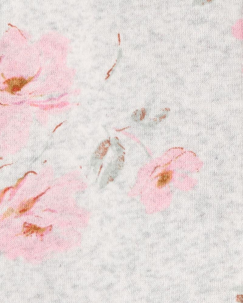 Peplum Hem Floral Fleece Hoodie, , hi-res