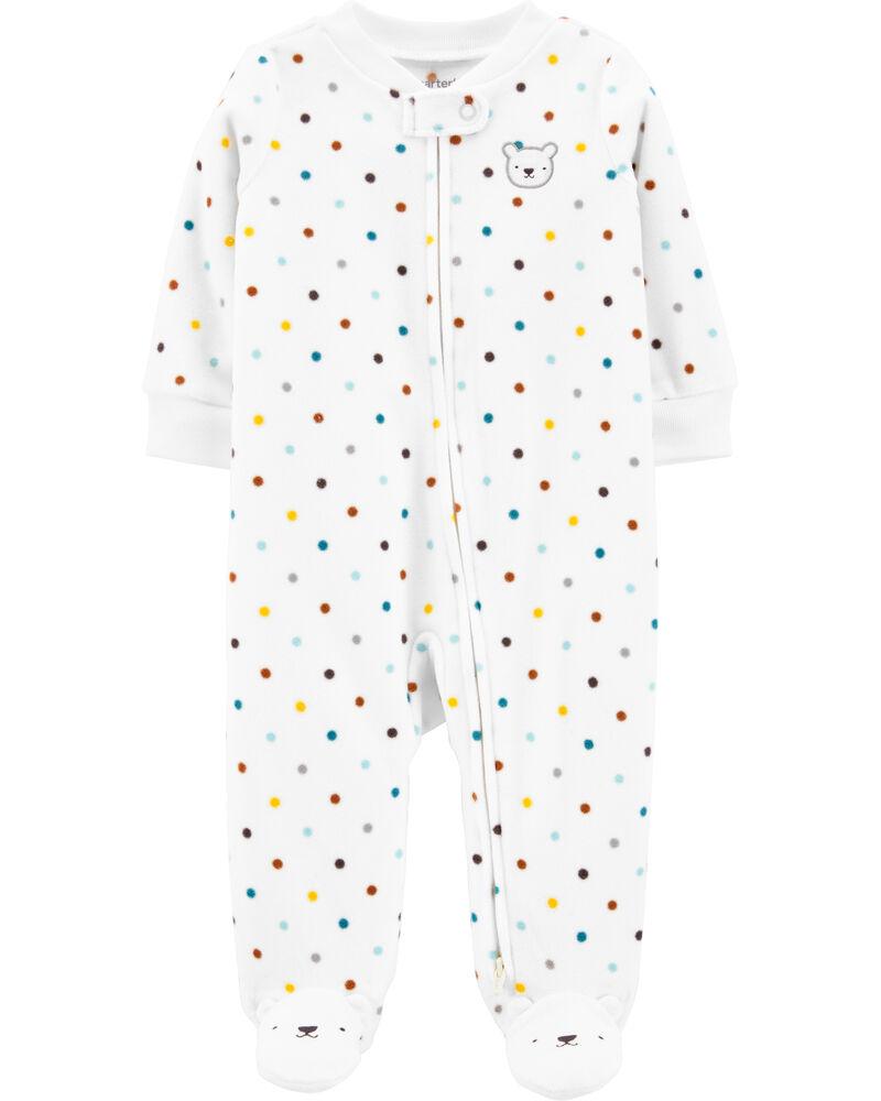 Polka Dot Zip-Up Fleece Sleep & Play, , hi-res