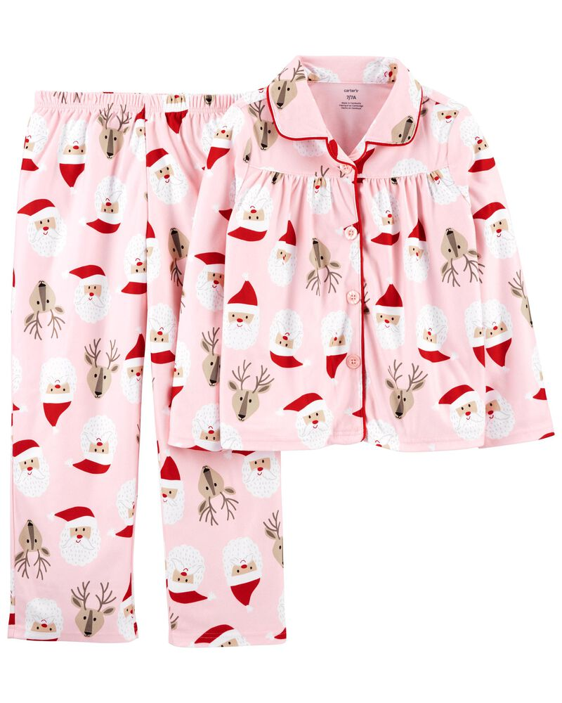 2-Piece Santa Coat-Style Fleece PJs, , hi-res