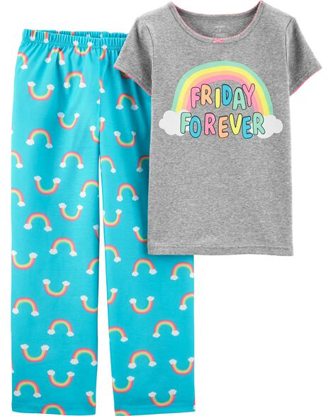 2-Piece Rainbow Cotton & Poly PJs