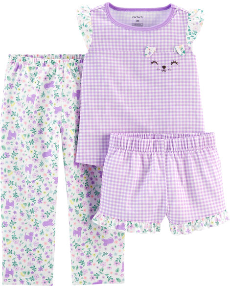3-Piece Floral Gingham Poly PJs