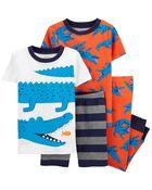 Pyjama 4 pièces en coton ajusté à motif d'alligator, , hi-res