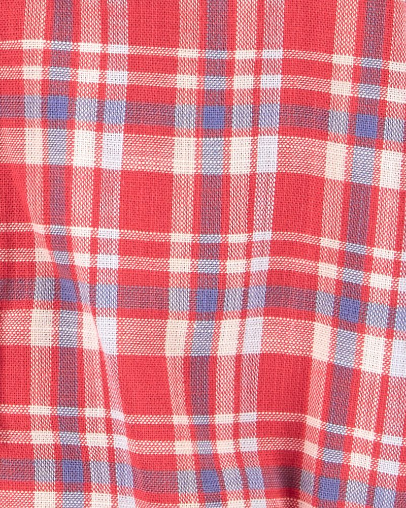 Plaid Button-Front Bodysuit, , hi-res