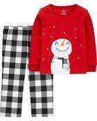 Pyjama 2 pièces en molleton à bonhomme de neige des Fêtes, , hi-res