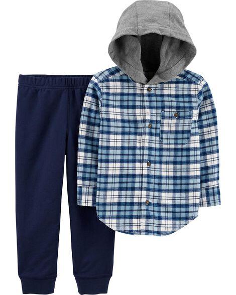 Ensemble 2 pièces haut en flanelle à motif écossais et pantalon de jogging