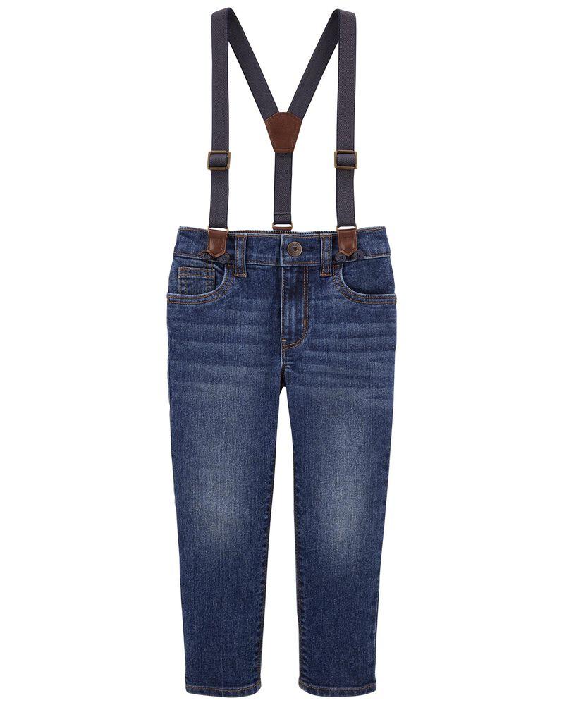 Slim Fit Knit Denim Suspender Pants, , hi-res