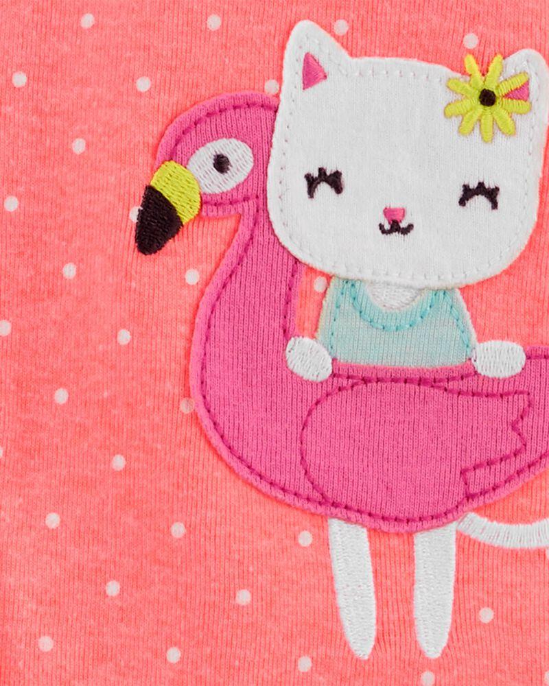 Pyjama 1 pièce sans pieds en coton ajusté à motif flamant et chat, , hi-res