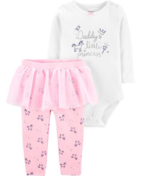 2-Piece Daddy's Little Princess Bodysuit & Tutu Pant Set