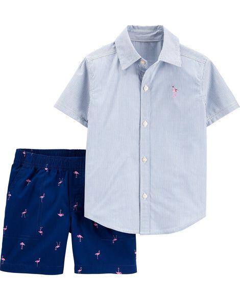 2-Piece Striped Button-Front Shirt & Flamingo Short Set