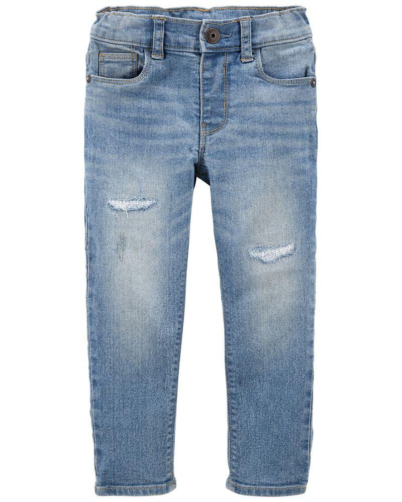 Jeans en tricot de denim déchiré - coupe étroite, , hi-res