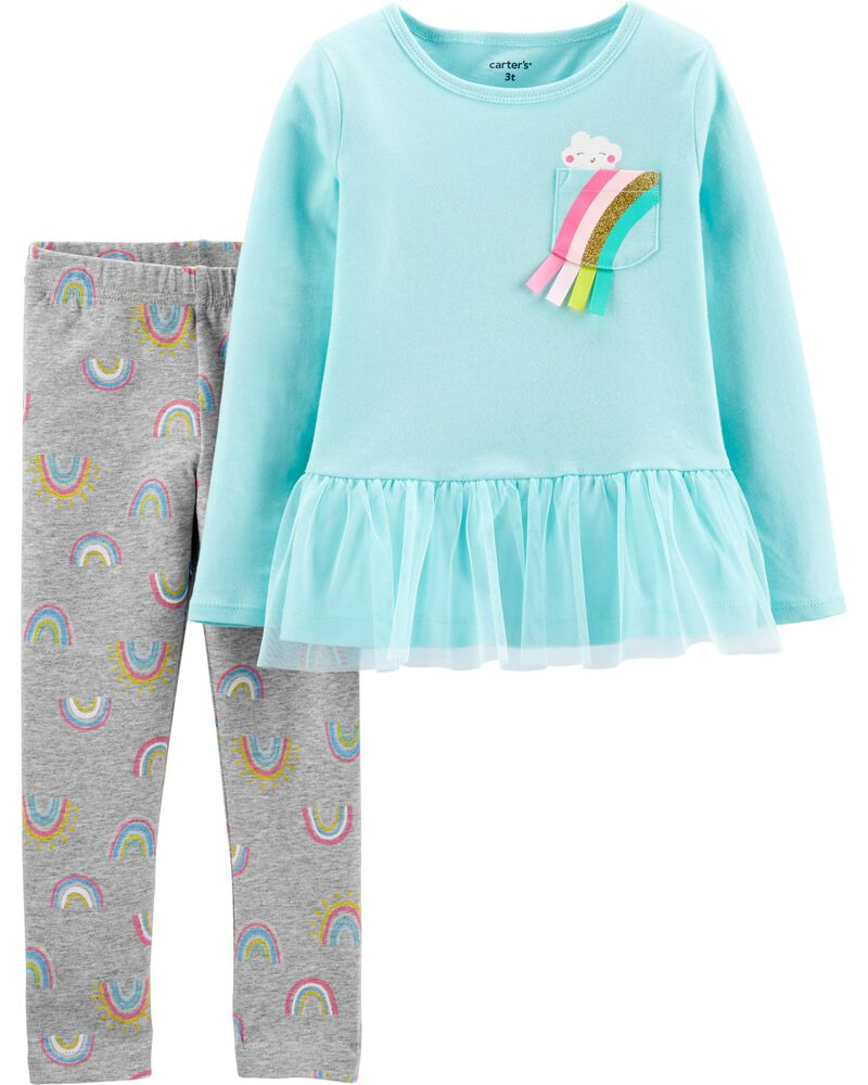 2-Piece Rainbow Peplum Top & Legging Set, , hi-res