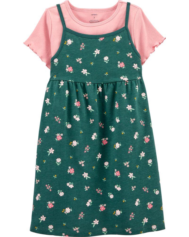 Ensemble 2 pièces robe fleurie et t-shirt, , hi-res