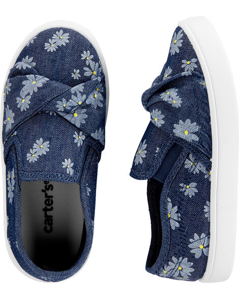 Floral Chambray Casual Sneakers