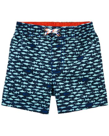 Shark Print Swim Trunks