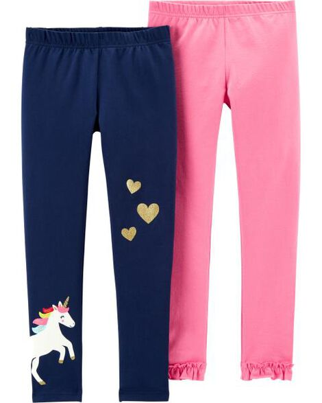 2-Pack Unicorn & Ruffle Leggings