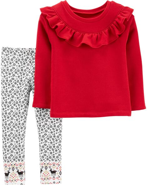 2-Piece Ruffle Fleece Top & Floral Legging Set
