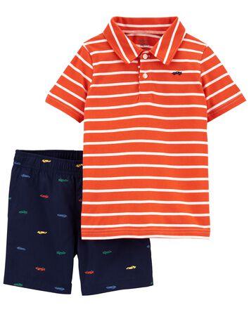 2-Piece Jersey Polo & Short Set
