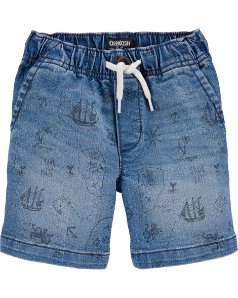 Nautical Pull-On Denim Shorts