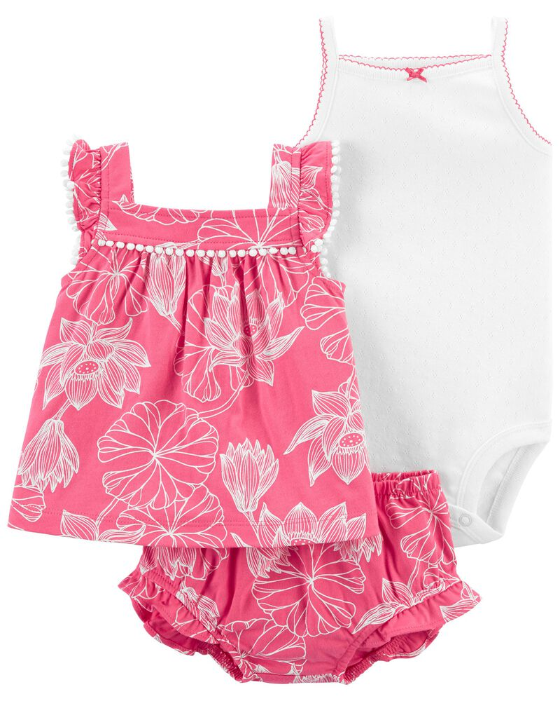 3-Piece Floral Little Short Set, , hi-res