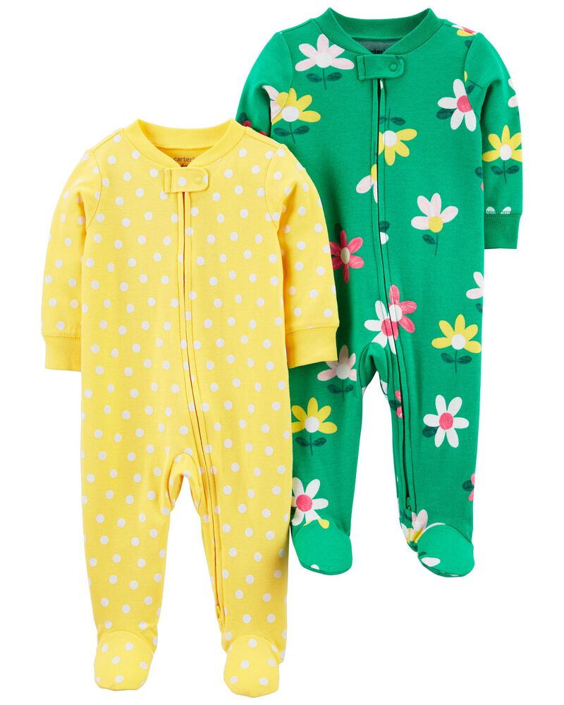 2-Pack Zip-Up Cotton Sleep & Plays, , hi-res