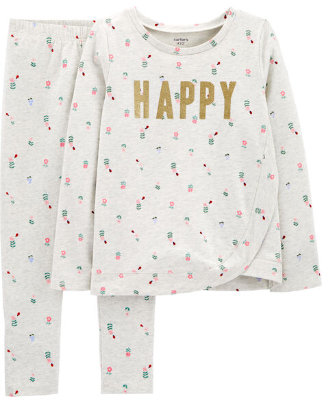 2-Piece Happy French Terry Top & Floral Legging Set