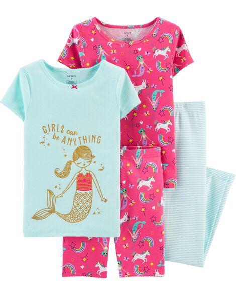 Pyjama 4 pièces en coton ajusté à motif sirène