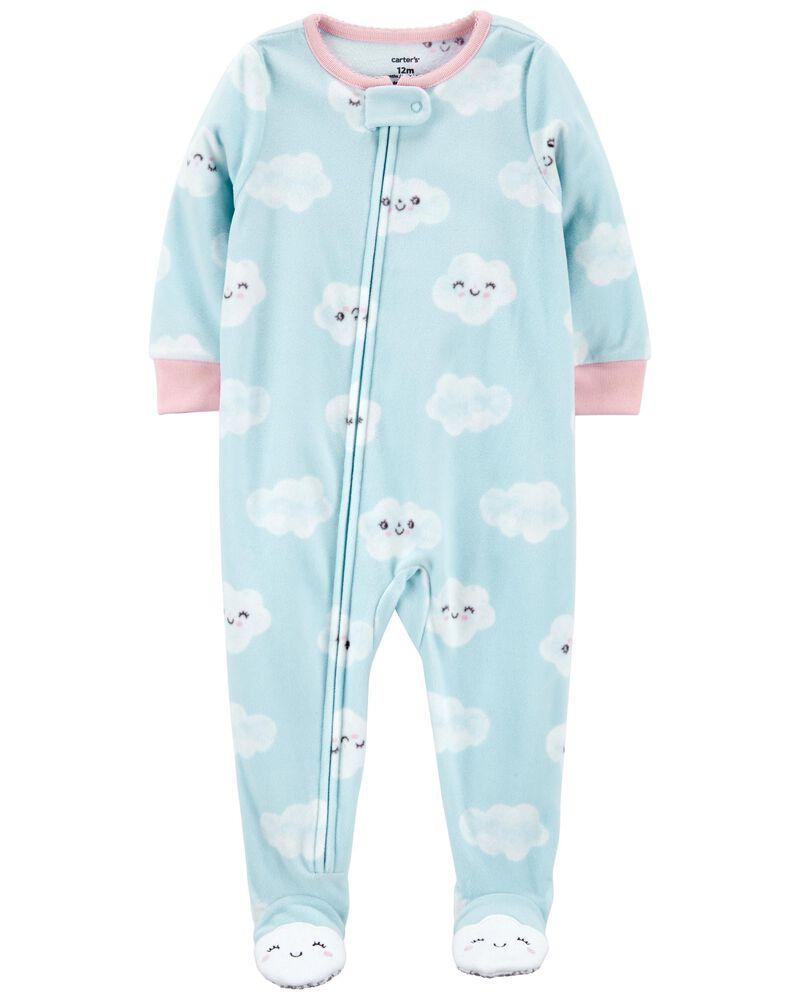 Pyjama 1 pièce à pieds en molleton nuage, , hi-res