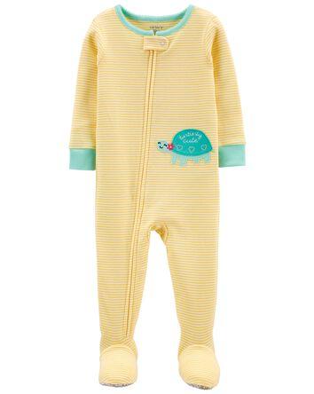 Pyjama 1 pièce jaune à pieds en cot...