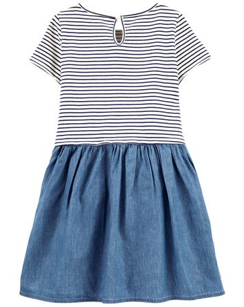 Stripe & Denim Dress