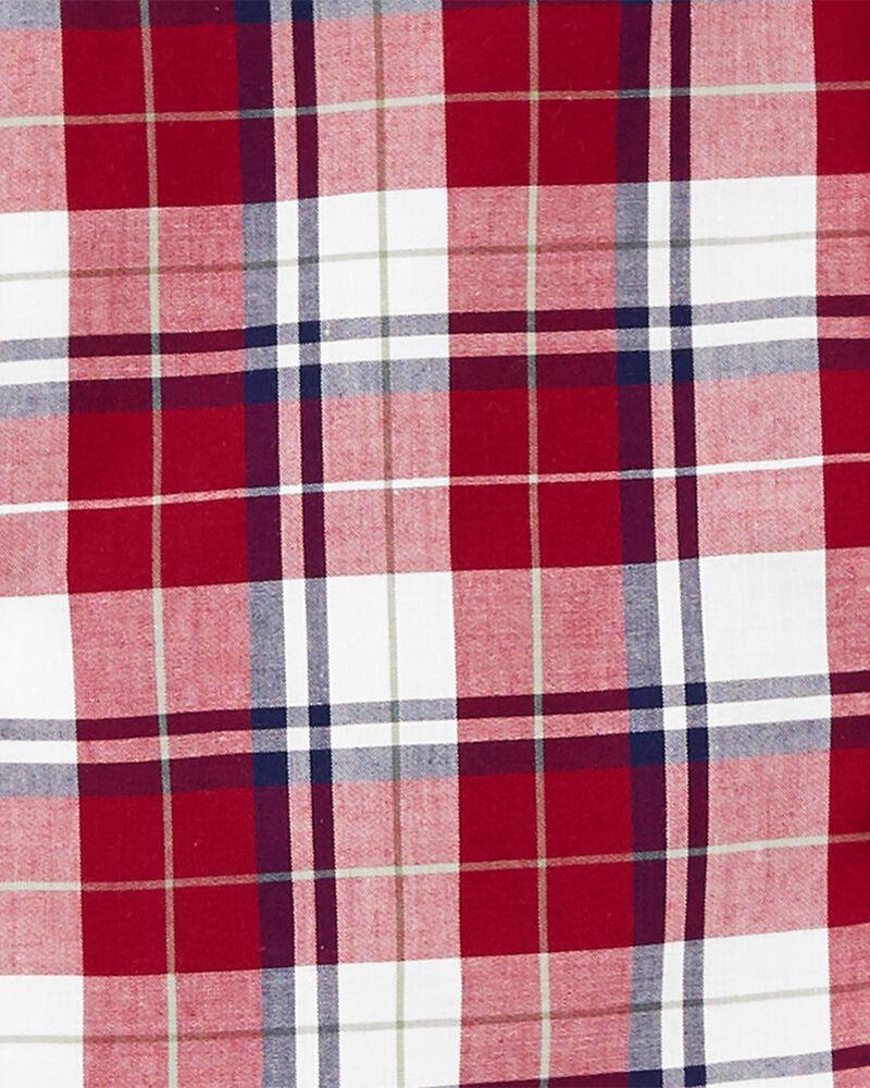 Ensemble 2 pièces chemise boutonnée à motif vichy et pantalon , , hi-res