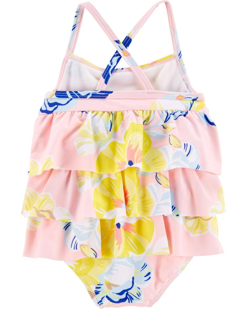 1-Piece Floral Ruffle Swimsuit, , hi-res