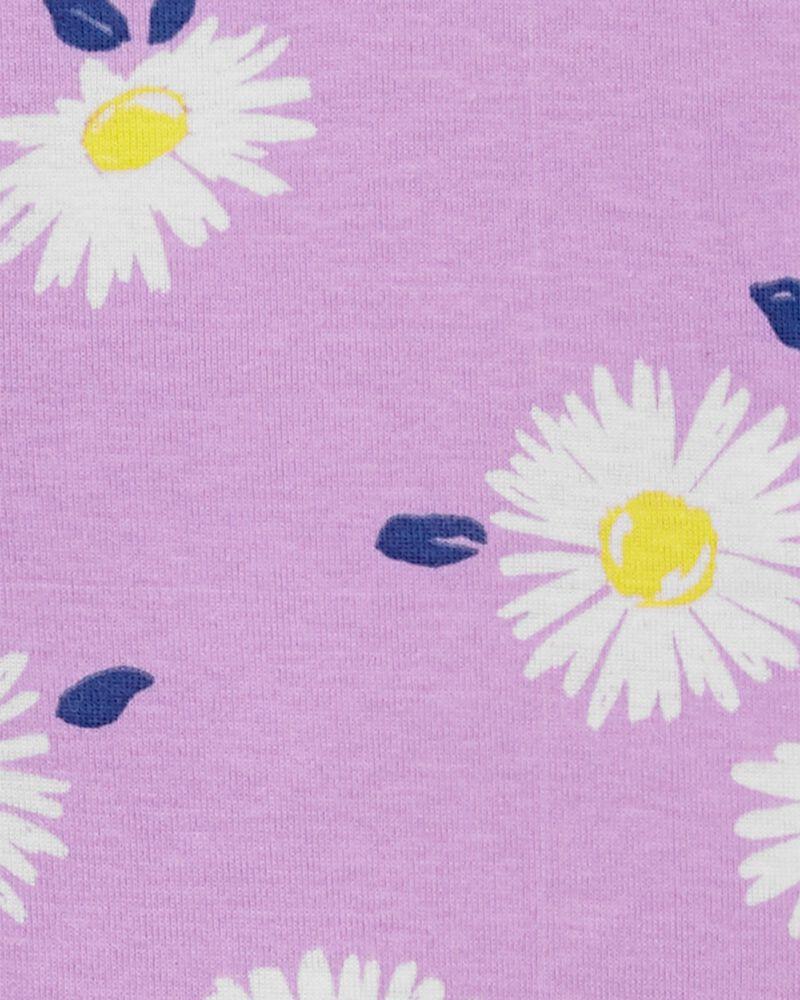 Pyjama 1 pièce à pieds en coton ajusté à marguerites, , hi-res