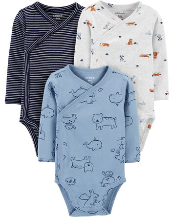 3-Pack Animal Side-Snap Bodysuits
