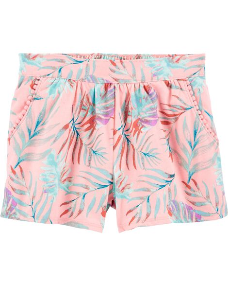 Tropical Pom Pocket Pull-On Shorts