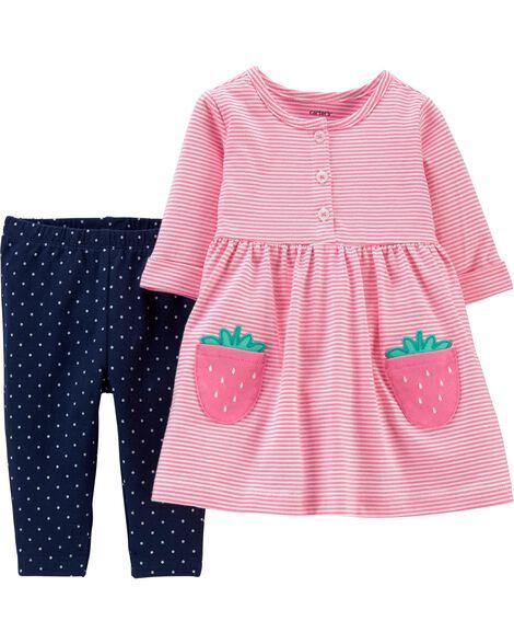 Ensemble 2 pièces robe en jersey à fraise et legging à pois