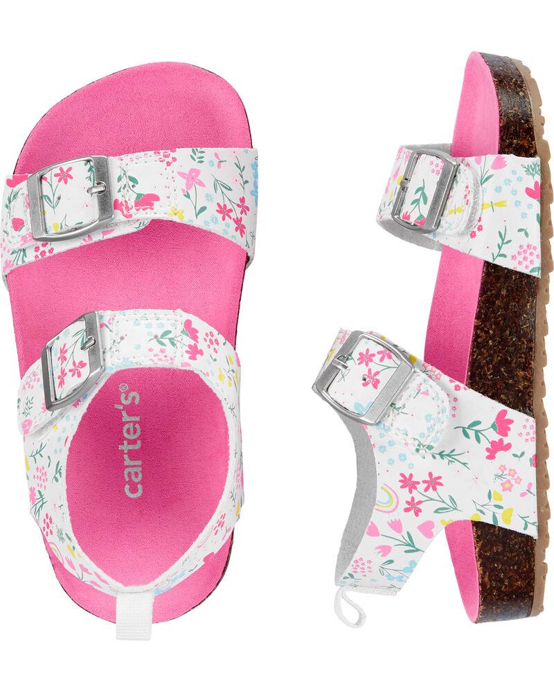 Sandales en liège avec fleurs, , hi-res