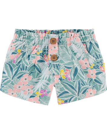Short en lin à motif tropical