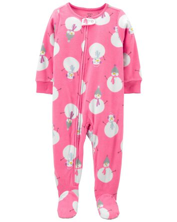 1-Piece Snowman Fleece Footie PJs