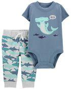 Ensemble 2 pièce cache-couche à motif baleine et pantalon, , hi-res