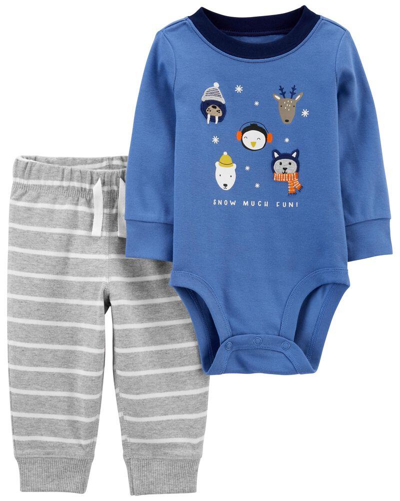 2-Piece Winter Animals Bodysuit Pant Set, , hi-res