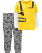 Ensemble 2 pièces t-shirt de style superposé motif construction et pantalon de jogging, , hi-res