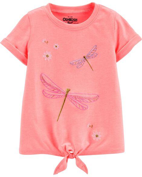 T-shirt à nœud devant et libellules